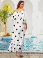 Midi Dresses Swing Polka Dots Dress