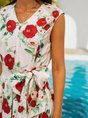 Lace-Up Floral Midi Dress