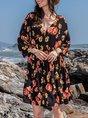 V Neck Daily Floral Dress