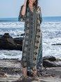V Neck Beach Vintage  Maxi Dress