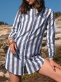 Long Sleeve Stripes Shawl Collar Mini Dress
