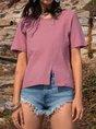 Cotton Casual Shift Short Sleeve Blouse