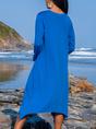 V Neck Daytime Cotton Plain Dress