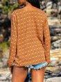 V Neck Casual Paneled Long Sleeve Shirt