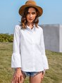 Shift Long Sleeve Plain Shirt Collar Top