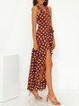 V Neck Holiday Polyester Cotton Dress
