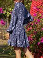 Blue V Neck Paneled Long Sleeve Cotton-Blend Dress