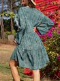 Blue Swing Leopard Crew Neck Boho Dress