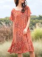 Red Short Sleeve Casual Dress