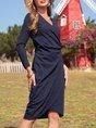 Purplish Blue Sexy V Neck Dress
