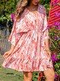 Red Casual V Neck Geometric Dress