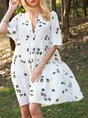 Off White Swing V Neck Half Sleeve Gathered Mini Dress