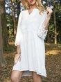 V Neck A-Line Cotton-Blend Dress