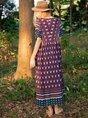 Blue Plain Short Sleeve Swing Dress
