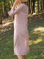 V Neck Casual Striped 3/4 Sleeve Dress