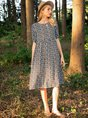 Polka Dots Short Sleeve Swing Dress