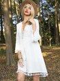White Long Sleeve Plain Paneled Dress