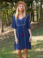 Blue V Neck Half Sleeve Dress