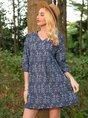 Blue Boho 3/4 Sleeve A-Line Dress