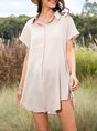 Gray Casual Linen V Neck Solid One-Pieces
