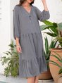Stripes V Neck Shift Casual Midi Dress