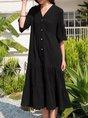 Plain Half Sleeve V Neck Shift Maxi Dress