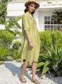 Plain Half Sleeve Midi Dress
