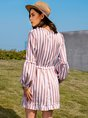 Orange Pink Paneled Deep V-Neck A-Line Striped Long Sleeve Mini Dress