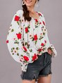 Floral Crew Neck Shift Sweet Top