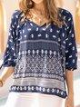 Purplish Blue 3/4 Sleeve V Neck Shift Shirts & Tops