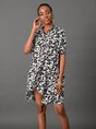 Shift Short Sleeve Shirt Collar Mini Dress