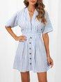 A-Line V Neck Stripes Sweet Dress