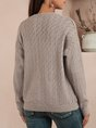 Gray Plain Long Sleeve Cardigans Sweater
