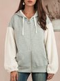 Gray Hoodie Shift Long Sleeve Outerwear