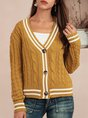 Yellow Shift Casual Long Sleeve Sweater