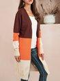 Coffee Color-block Long Sleeve Sweater Coat