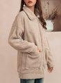 Khaki Shift Plain Long Sleeve Outerwear
