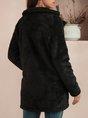 Black Plain Long Sleeve Shawl Collar Shift Outerwear