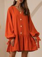 V Neck Orange Shift Daily Mini Dress