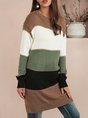 Green Crew Neck Casual Shift Sweater Dress