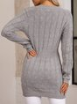 Grey Long Sleeve Crew Neck Knitted Dresses
