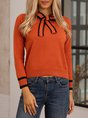 Red Sweet Bow Knitted Long Sleeve Sweater