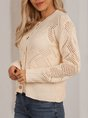 Beige Knitted Long Sleeve Crew Neck Outerwear