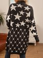 Black Star Knitted Long Sleeve Outerwear