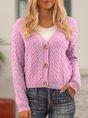 Purple Paneled Plain Casual Cotton-Blend Sweater Coat