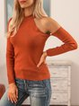 Brown Sexy One Shoulder Plain Sweater