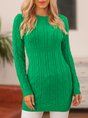 Green Crew Neck Knitted Long Sleeve Sweater Dress