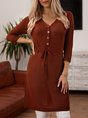 V Neck Knitted Lace-up Buttoned Long Sleeve Sweater Dresses