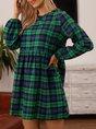 Green Shirred Long Sleeve Crew Neck Dress