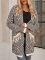 Gray Long Sleeve Geometric Paneled Sweater
